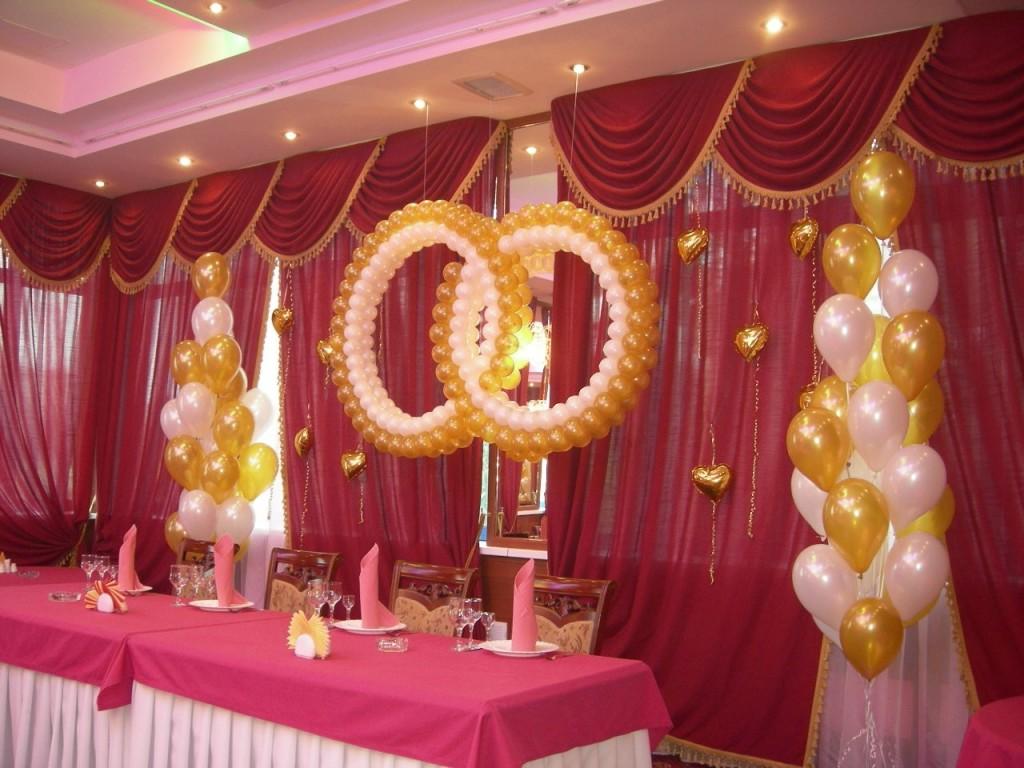 как украсить зал шарами на свадьбу