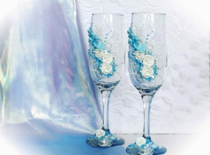 Свадебные бокалы своими руками с полимерной глиной