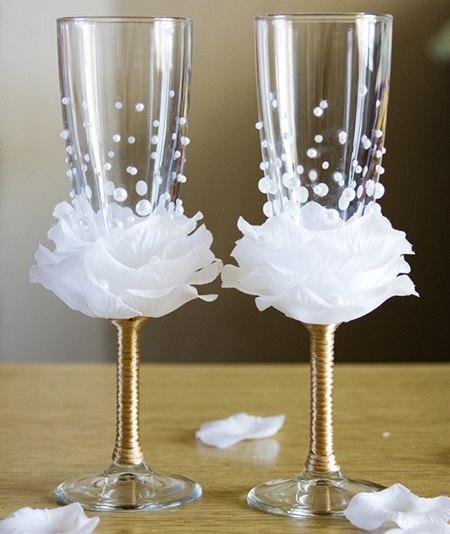 Украшения на бокалы для свадьбы