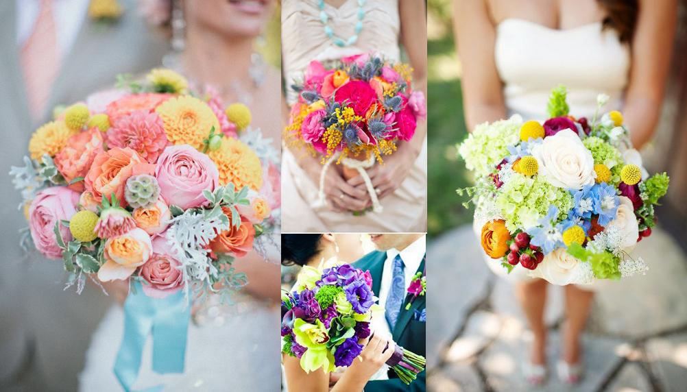 Свадебные яркие букеты