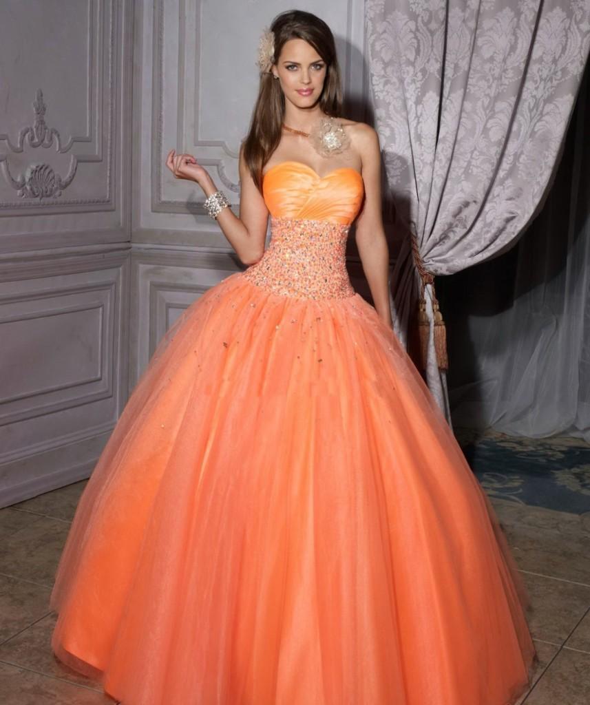 Оранжевое свадебное плтье