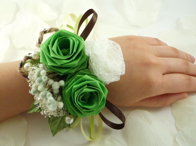 Как сделать браслет с цветком из лент