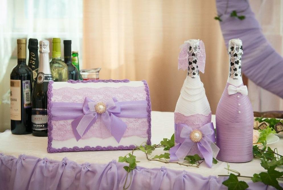 как украсить шапанское на свадьбу